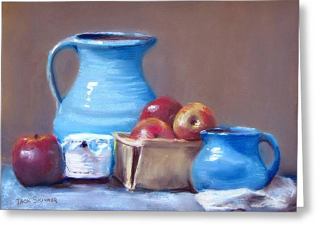 Blue Pitchers And Apples Greeting Card by Jack Skinner