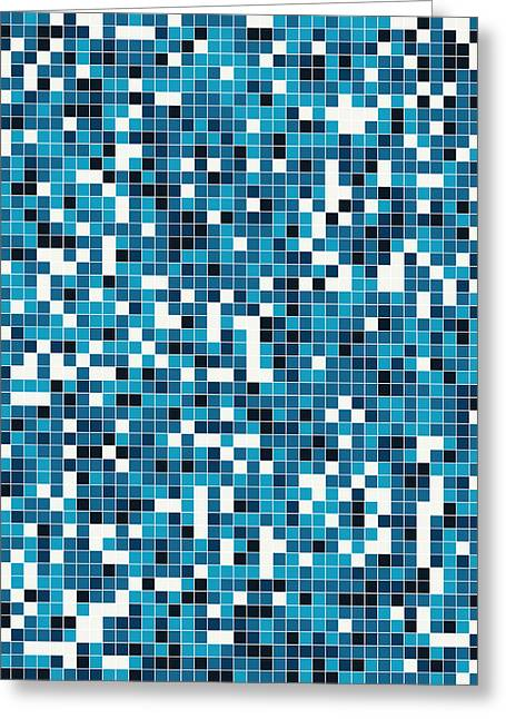 Blue Pixel Art Greeting Card by Mike Taylor