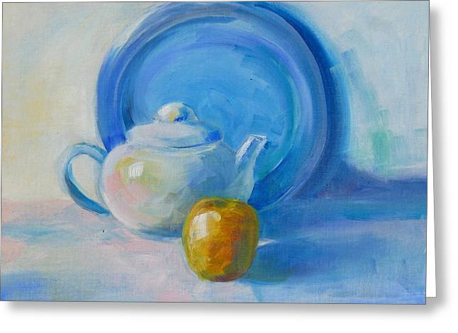 Blue Plate Special Greeting Card by Valerie Lynch