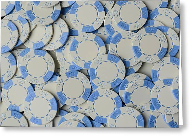 Blue Poker Chip Background Greeting Card