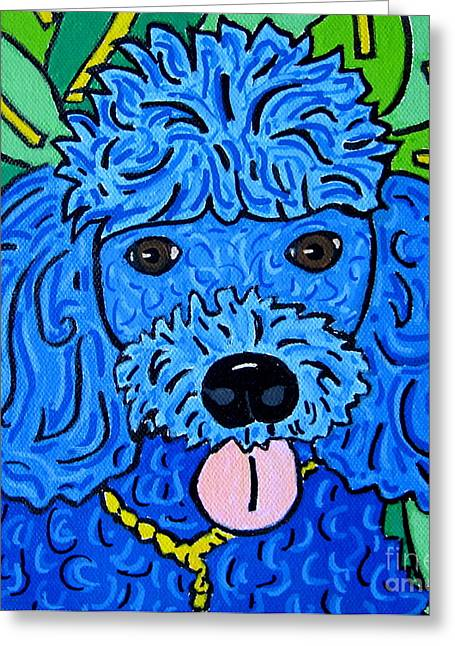 Blue Poodle Greeting Card by Susan Sorrell