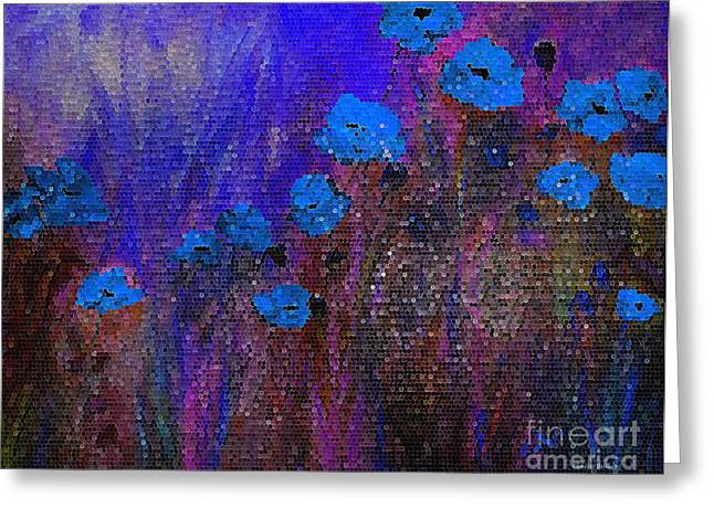 Blue Poppies Greeting Card by Claire Bull