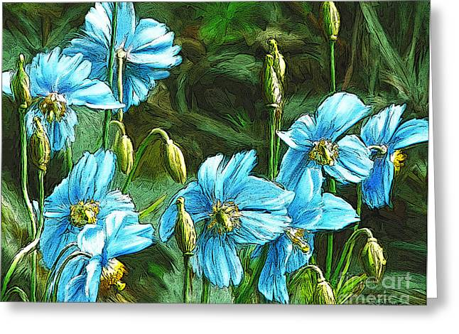 Blue Poppies Greeting Card