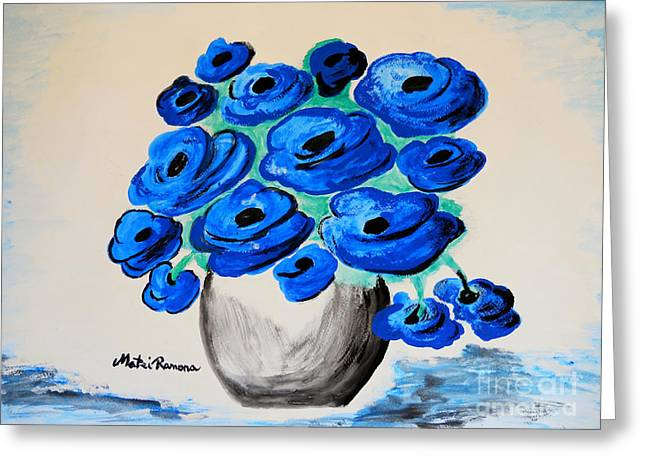 Greeting Card featuring the painting Blue Poppies by Ramona Matei