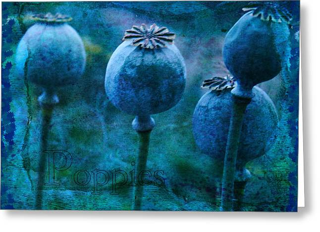 Greeting Card featuring the photograph Blue Poppy Grunge by Sandra Foster