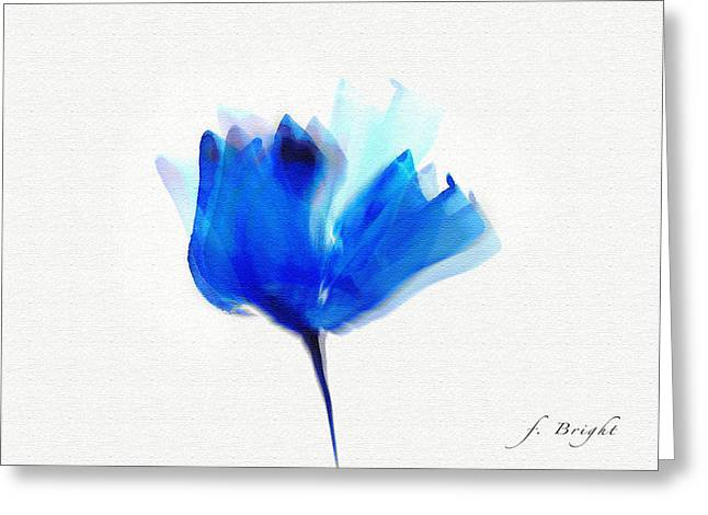 Blue Poppy Silouette Mixed Media  Greeting Card