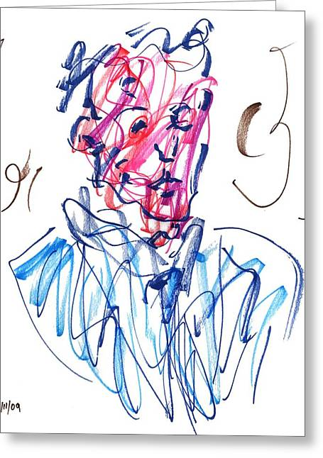 Blue Portrait Greeting Card