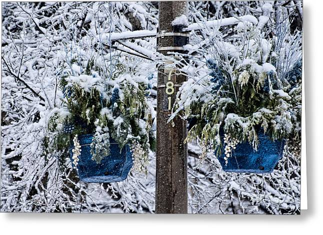 Blue Pots After Ice And Snow Storms Greeting Card