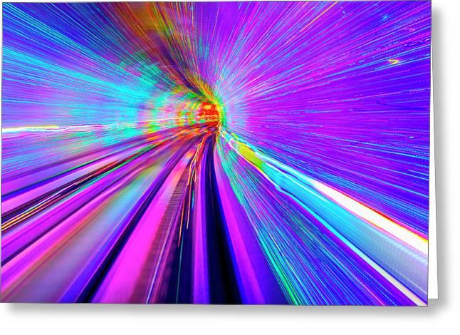 Blue Purple Rail Abstract Underground Greeting Card