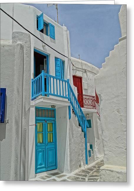 Blue Railing With Stairway In Mykonos Greece Greeting Card by M Bleichner