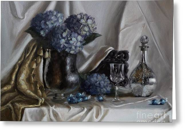 Blue Reflections Greeting Card by Viktoria K Majestic