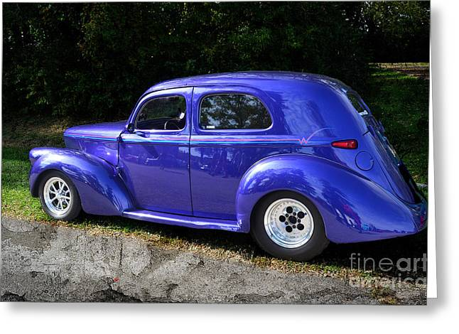 Blue Restored Willy Car Greeting Card by Luther Fine Art