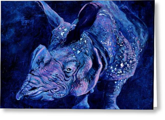Indian Rhino - Blue Greeting Card