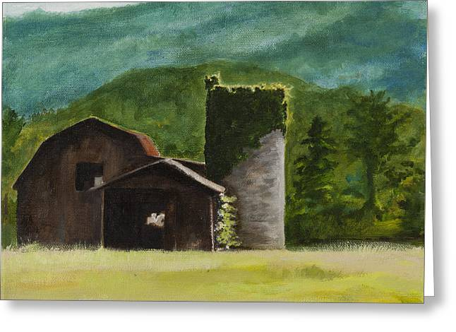 Blue Ridge Barn Greeting Card by Carla Dabney
