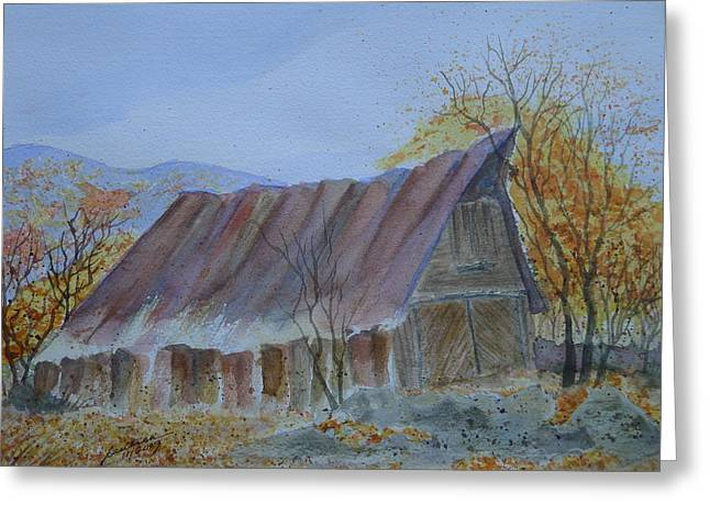 Blue Ridge Barn Greeting Card by Joel Deutsch