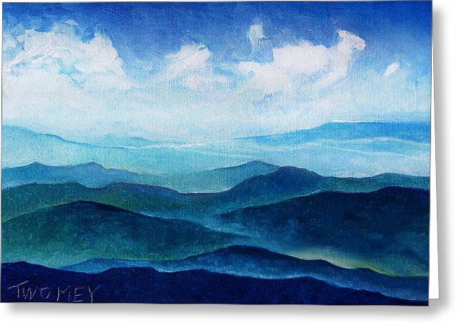 Blue Ridge Blue Skyline Sheep Cloud Greeting Card by Catherine Twomey