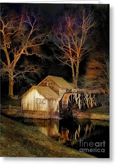 Blue Ridge - Mabry Mill Painted At Night I Greeting Card by Dan Carmichael