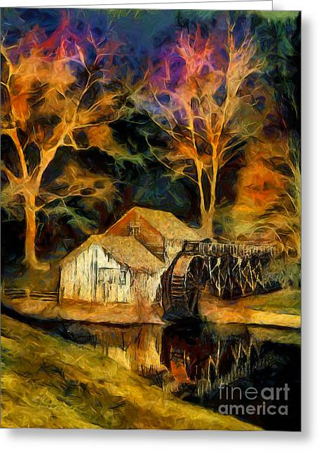 Blue Ridge - Mabry Mill Painted At Night II Greeting Card by Dan Carmichael