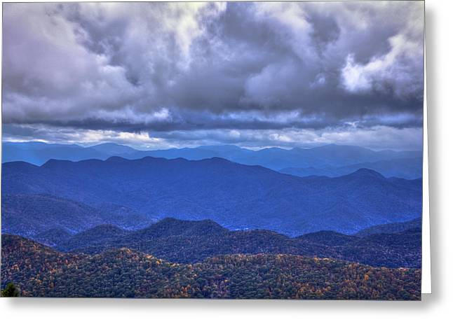 Under The Cloud Cover Blue Ridge Mountains North Carolina Greeting Card by Reid Callaway