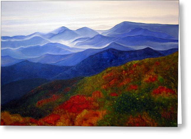 Greeting Card featuring the painting Blue Ridge Mountains Of West Virginia by Katherine Miller
