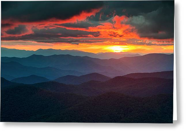 Blue Ridge Mountains Sunset From Southern Blue Ridge Parkway Greeting Card