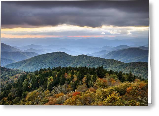 Blue Ridge Parkway Autumn Mountains Sunset Nc - Boundless Greeting Card