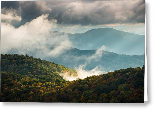 Blue Ridge Parkway Nc Autumn Morning Greeting Card by Dave Allen