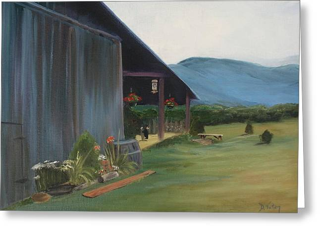 Blue Ridge Vineyard Greeting Card by Donna Tuten