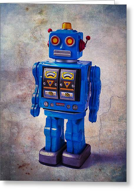 Blue Robot Toy Greeting Card by Garry Gay