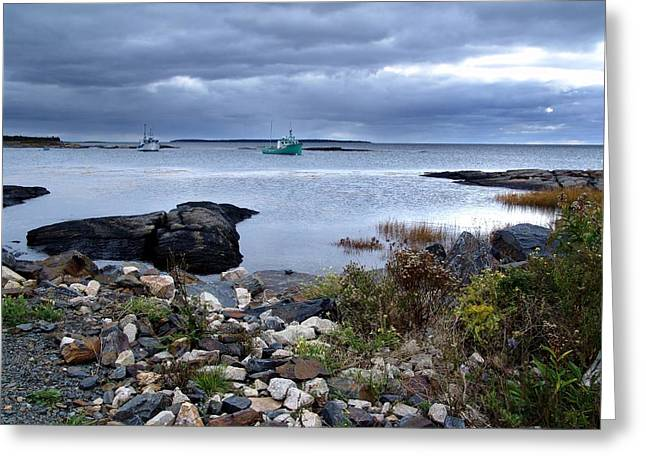 Blue Rocks Late October Day Greeting Card by Janet Ashworth