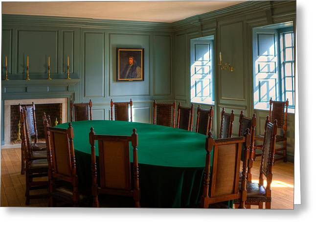 Greeting Card featuring the photograph Blue Room 2 Wren Building by Jerry Gammon