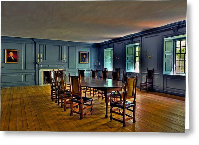 Greeting Card featuring the photograph Blue Room Wren Building by Jerry Gammon