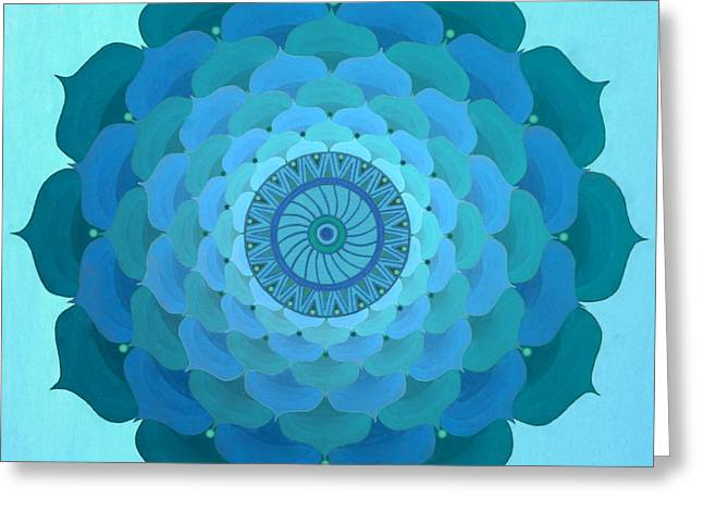 Blue Rose Mandala Greeting Card by Vlatka Kelc