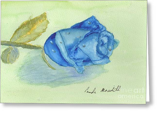 Blue Rose Greeting Card by Pamela  Meredith