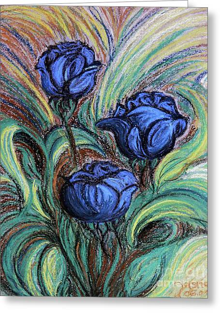 Greeting Card featuring the painting Blue Roses by Jasna Dragun