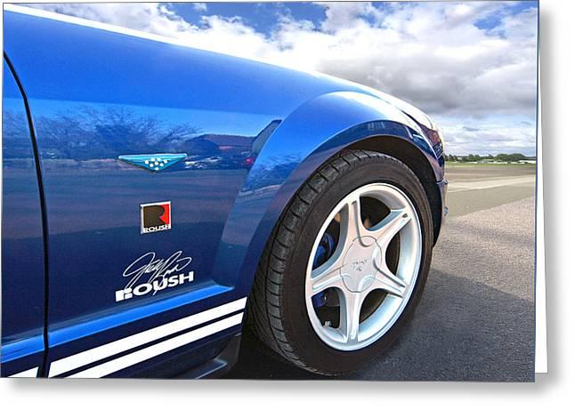 Blue Roush Mustang Greeting Card by Gill Billington