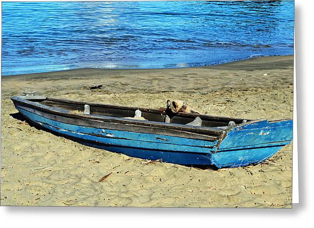 Blue Rowboat Greeting Card by Holly Blunkall