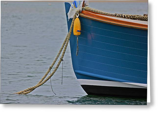 Greeting Card featuring the photograph Blue Sailboat by Amazing Jules