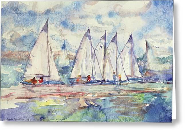 Blue Sailboats Greeting Card by Brenda Brin Booker