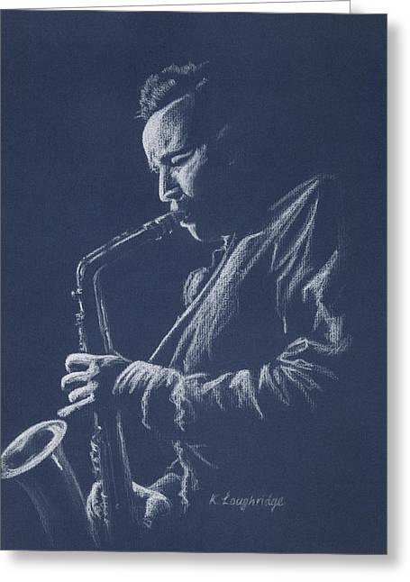 Blue Sax Greeting Card by Karen  Loughridge KLArt