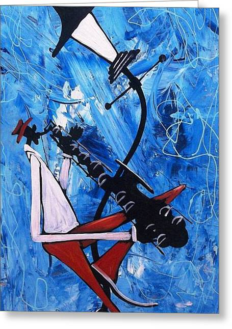Blue Sax Greeting Card by Guilbeaux Gallery
