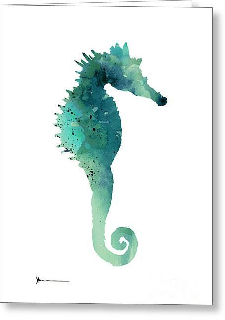Blue Sea Horse Art Print Painting  Greeting Card by Joanna Szmerdt