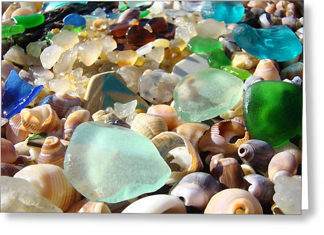 Blue Seaglass Beach Art Prints Shells Agates Greeting Card by Baslee Troutman