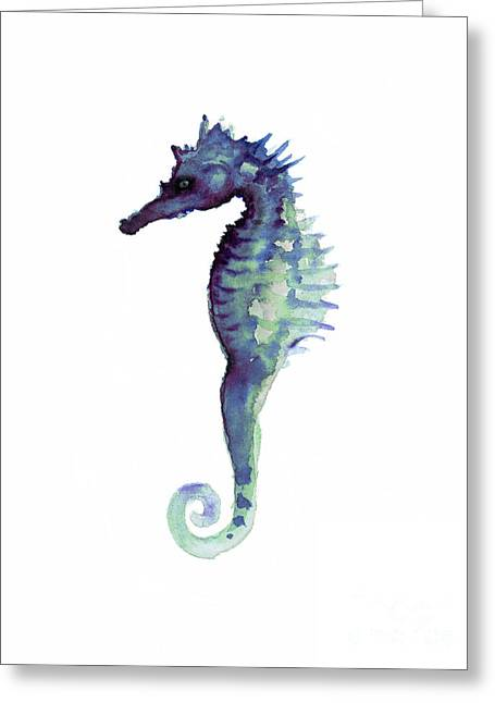 Blue Seahorse Greeting Card by Joanna Szmerdt