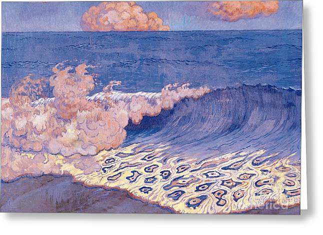 Blue Seascape Wave Effect Greeting Card by Georges Lacombe