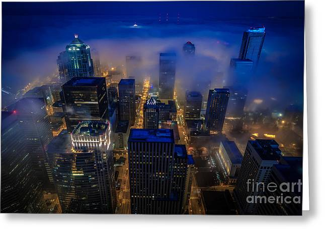 Blue Seattle Greeting Card by Mike Reid