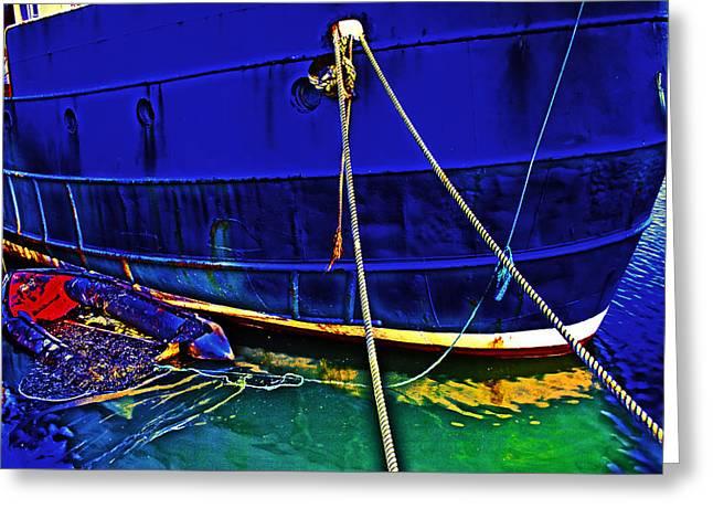 Blue Ship Greeting Card by Tony Reddington