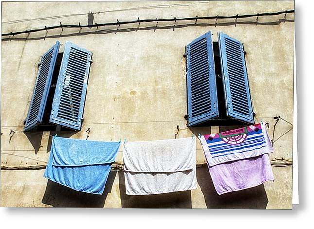 Blue Shutters And Laundry  Greeting Card