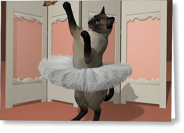 Blue Siamese Ballet Cat On Paw-te Greeting Card by Andre Price