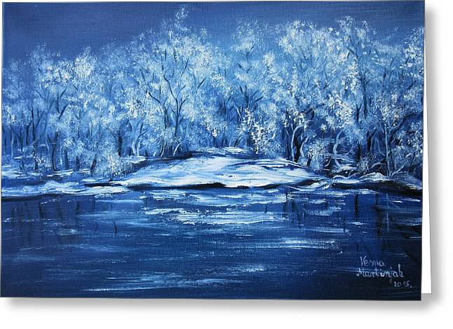 Greeting Card featuring the painting Blue Silence by Vesna Martinjak